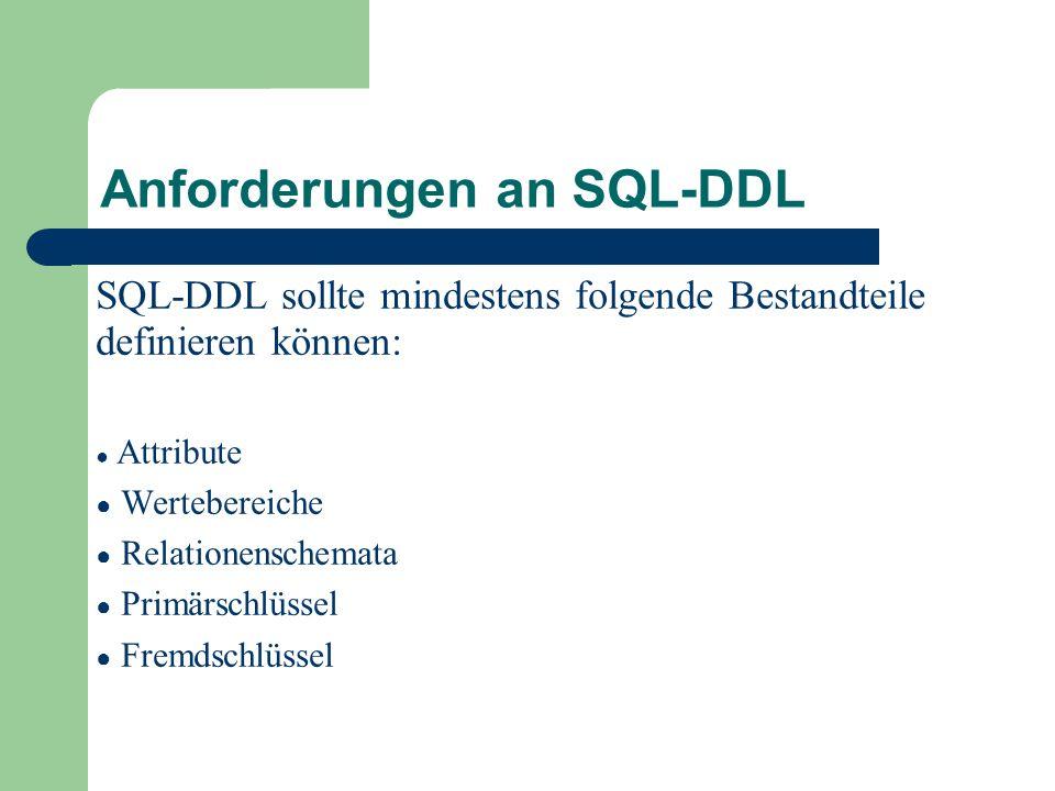 Anforderungen an SQL-DDL SQL-DDL sollte mindestens folgende Bestandteile definieren können: ● Attribute ● Wertebereiche ● Relationenschemata ● Primärschlüssel ● Fremdschlüssel
