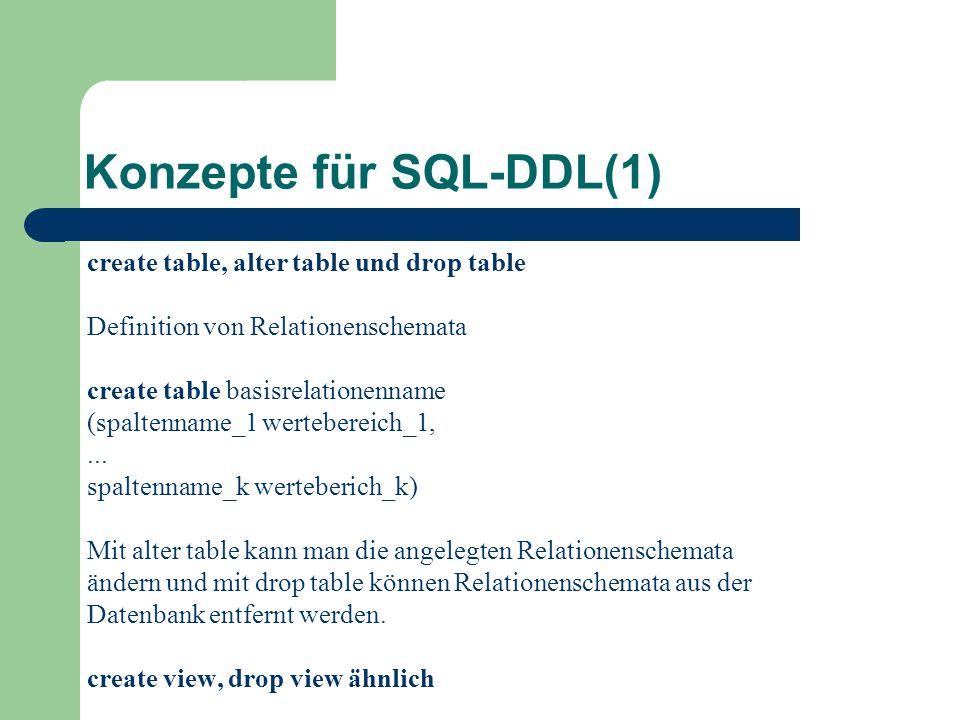 Konzepte für SQL-DDL(1) create table, alter table und drop table Definition von Relationenschemata create table basisrelationenname (spaltenname_1 wertebereich_1,...