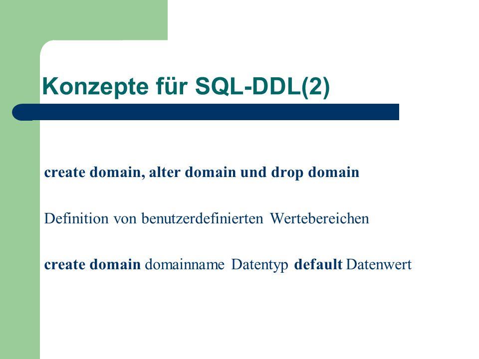 Konzepte für SQL-DDL(2) create domain, alter domain und drop domain Definition von benutzerdefinierten Wertebereichen create domain domainname Datentyp default Datenwert