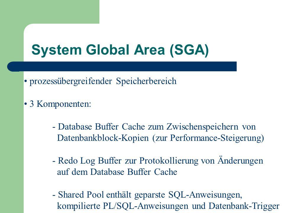 prozessübergreifender Speicherbereich 3 Komponenten: - Database Buffer Cache zum Zwischenspeichern von Datenbankblock-Kopien (zur Performance-Steigerung) - Redo Log Buffer zur Protokollierung von Änderungen auf dem Database Buffer Cache - Shared Pool enthält geparste SQL-Anweisungen, kompilierte PL/SQL-Anweisungen und Datenbank-Trigger System Global Area (SGA)