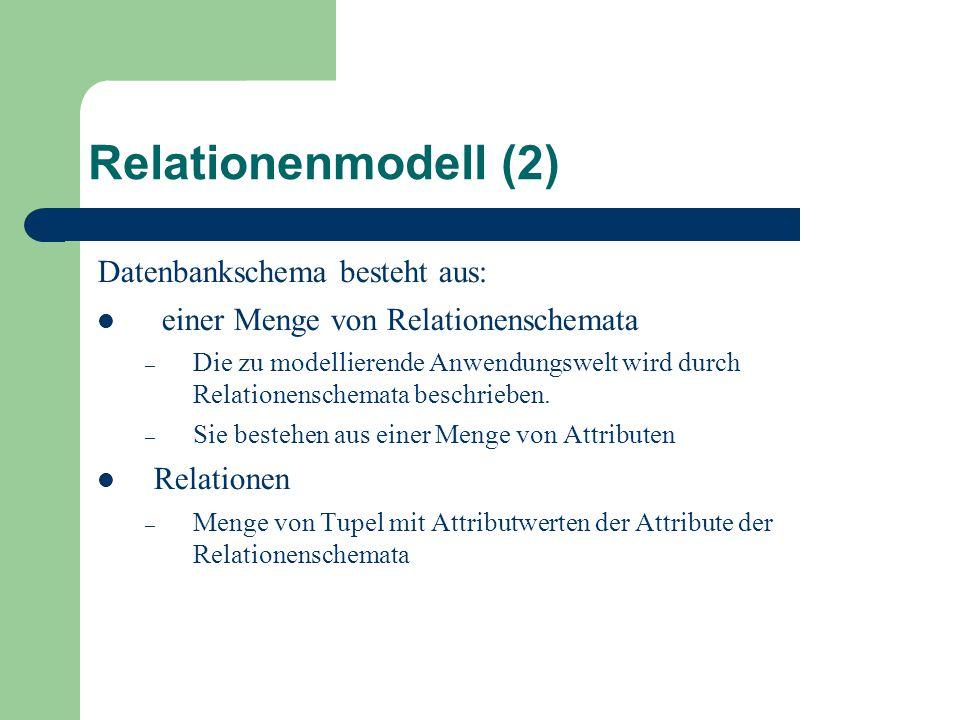 Relationenmodell (2) Datenbankschema besteht aus: einer Menge von Relationenschemata – Die zu modellierende Anwendungswelt wird durch Relationenschemata beschrieben.