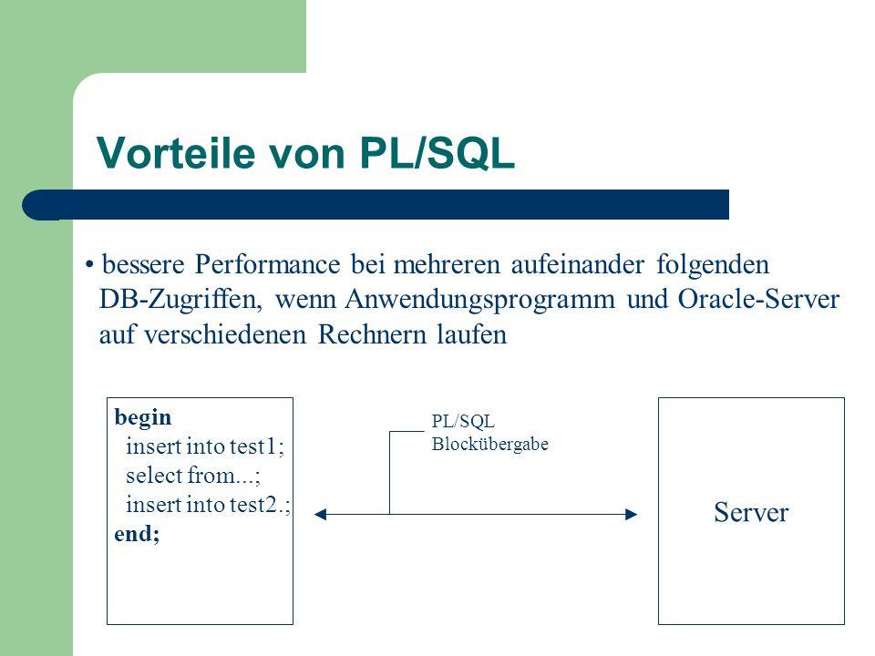 bessere Performance bei mehreren aufeinander folgenden DB-Zugriffen, wenn Anwendungsprogramm und Oracle-Server auf verschiedenen Rechnern laufen Server begin insert into test1; select from...; insert into test2.; end; PL/SQL Blockübergabe Vorteile von PL/SQL