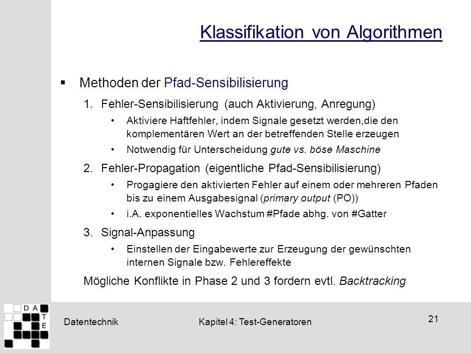Datentechnik 21 Kapitel 4: Test-Generatoren Klassifikation von Algorithmen  Methoden der Pfad-Sensibilisierung 1.Fehler-Sensibilisierung (auch Aktivi