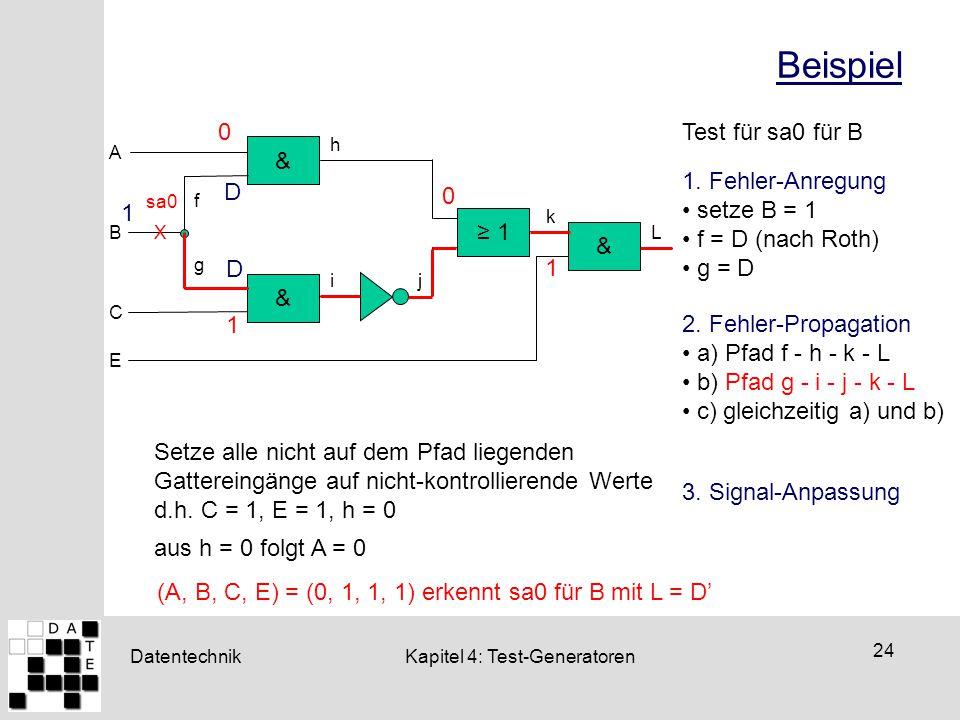 Datentechnik 24 Kapitel 4: Test-Generatoren Beispiel & & ≥ 1 k A B C h g f ij & E L X sa0 Test für sa0 für B 2. Fehler-Propagation a) Pfad f - h - k -