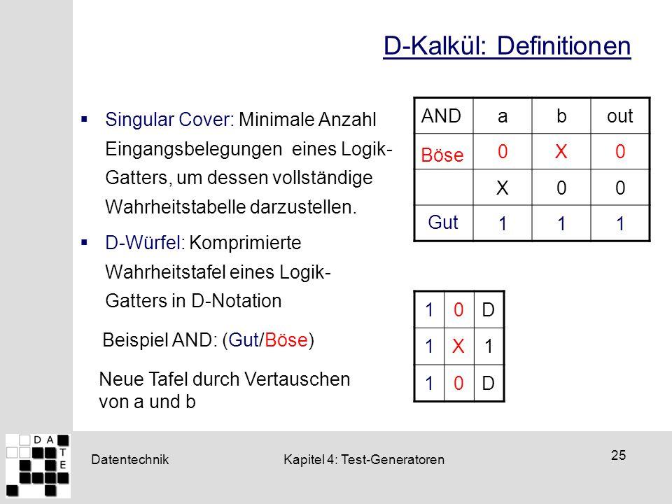 Datentechnik 25 Kapitel 4: Test-Generatoren D-Kalkül: Definitionen  Singular Cover: Minimale Anzahl Eingangsbelegungen eines Logik- Gatters, um desse