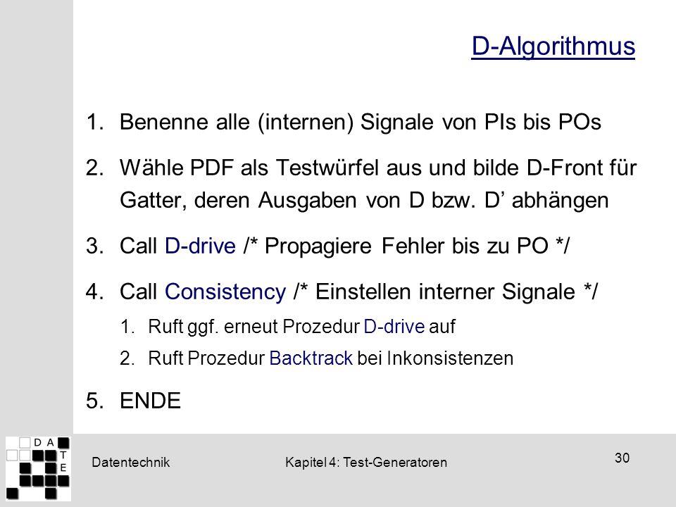 Datentechnik 30 Kapitel 4: Test-Generatoren D-Algorithmus 1.Benenne alle (internen) Signale von PIs bis POs 2.Wähle PDF als Testwürfel aus und bilde D