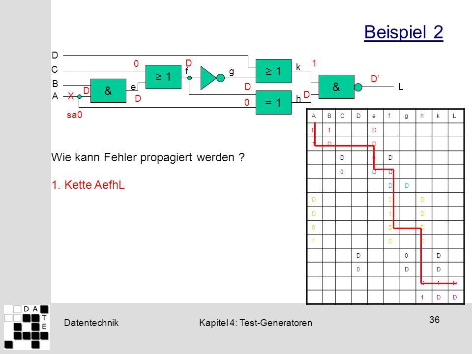 Datentechnik 36 Kapitel 4: Test-Generatoren Beispiel 2 ≥ 1 = 1 & & D ≥ 1 C B A L e fg h k X sa0 ABCDefghkL D1D 1DD D0D 0DD DD' D0D D1 0DD 1D D0D 0DD D