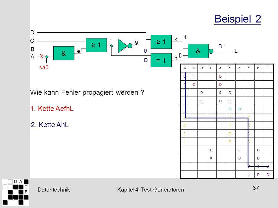 Datentechnik 37 Kapitel 4: Test-Generatoren Beispiel 2 ≥ 1 = 1 & & D ≥ 1 C B A L e fg h k X sa0 ABCDefghkL D1D 1DD D0D 0DD DD' D0D D1 0DD 1D D0D 0DD D