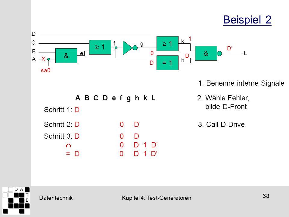 Datentechnik 38 Kapitel 4: Test-Generatoren Beispiel 2 ≥ 1 = 1 & & D ≥ 1 C B A L e fg h k X sa0 A B C D e f g h k L 1. Benenne interne Signale 2. Wähl