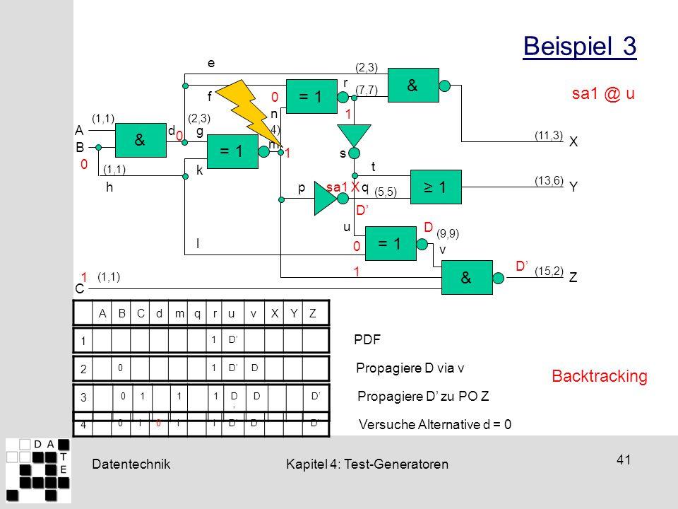Datentechnik 41 Kapitel 4: Test-Generatoren Beispiel 3 ≥ 1 A B C X &= 1& e & d h g k f l m n pq r s t u v Y Z sa1 X 0 (9,9) (1,1) (2,3) (4,4) (7,7) (2