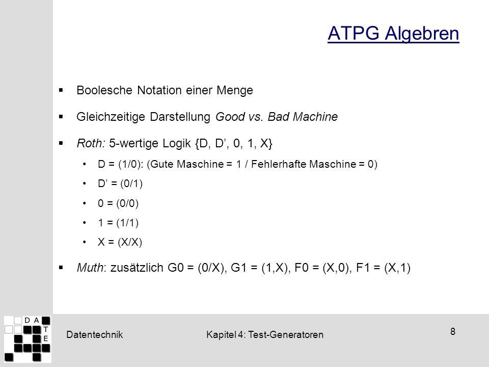 Datentechnik 8 Kapitel 4: Test-Generatoren ATPG Algebren  Boolesche Notation einer Menge  Gleichzeitige Darstellung Good vs. Bad Machine  Roth: 5-w