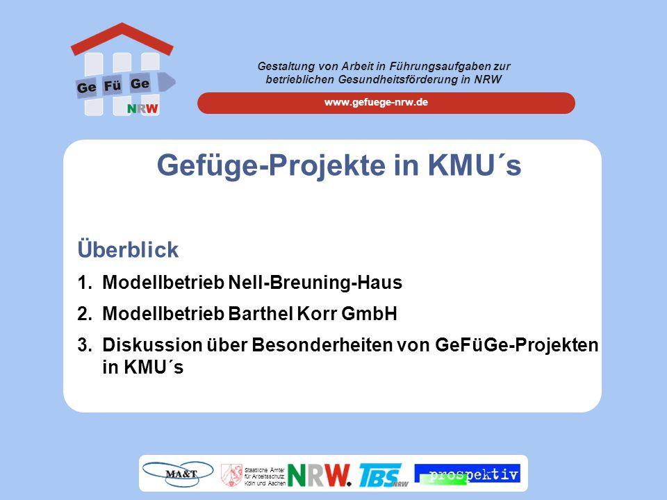 Gestaltung von Arbeit in Führungsaufgaben zur betrieblichen Gesundheitsförderung in NRW www.gefuege-nrw.de Staatliche Ämter für Arbeitsschutz Köln und