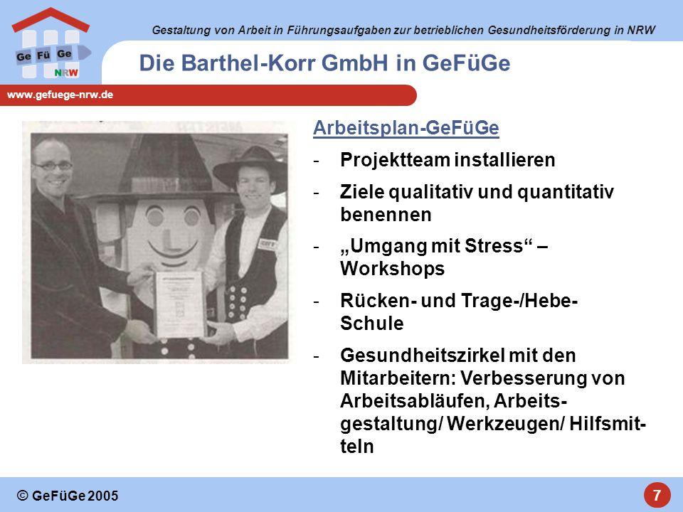 Gestaltung von Arbeit in Führungsaufgaben zur betrieblichen Gesundheitsförderung in NRW www.gefuege-nrw.de 8 © GeFüGe 2005 GeFüGe-Projekte in KMU´s - Diskussion