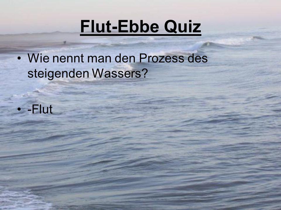 Flut-Ebbe Quiz Wie nennt man den Prozess des steigenden Wassers? -Flut