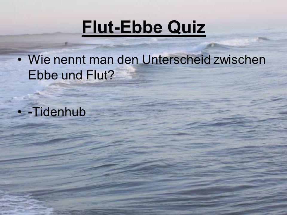 Flut-Ebbe Quiz Wie nennt man den Unterscheid zwischen Ebbe und Flut? -Tidenhub