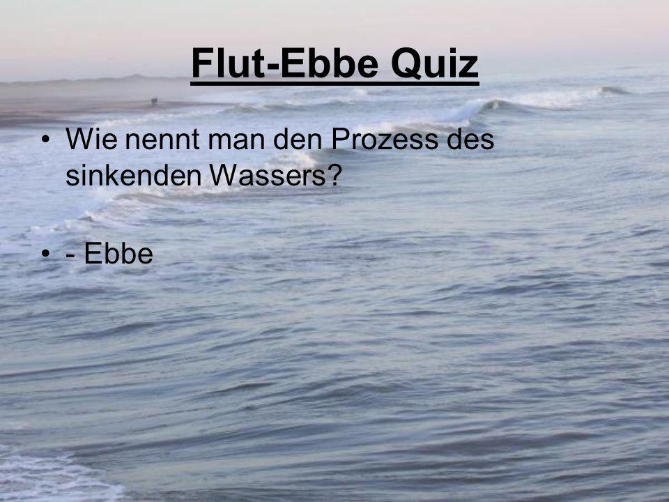 Flut-Ebbe Quiz Wie nennt man den Prozess des sinkenden Wassers? - Ebbe