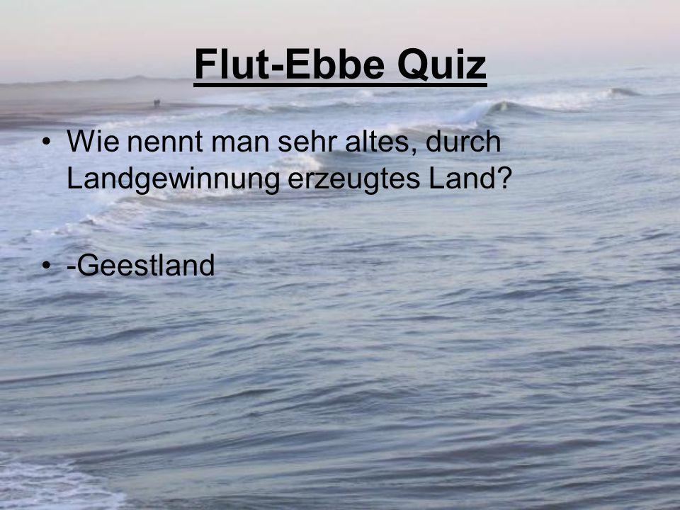 Flut-Ebbe Quiz Wie nennt man sehr altes, durch Landgewinnung erzeugtes Land? -Geestland