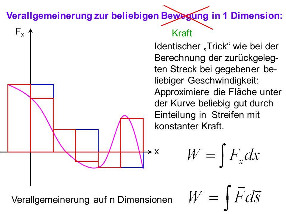 """Verallgemeinerung zur beliebigen Bewegung in 1 Dimension: FxFx x Kraft Identischer """"Trick"""" wie bei der Berechnung der zurückgeleg- ten Streck bei gege"""