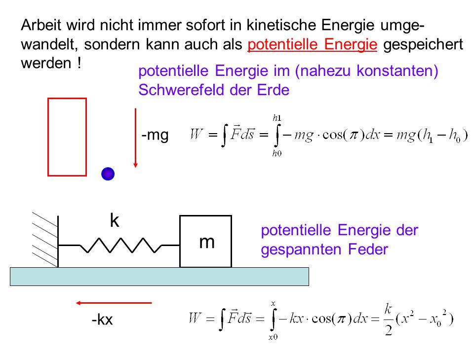 Arbeit wird nicht immer sofort in kinetische Energie umge- wandelt, sondern kann auch als potentielle Energie gespeichert werden ! -mg m k potentielle