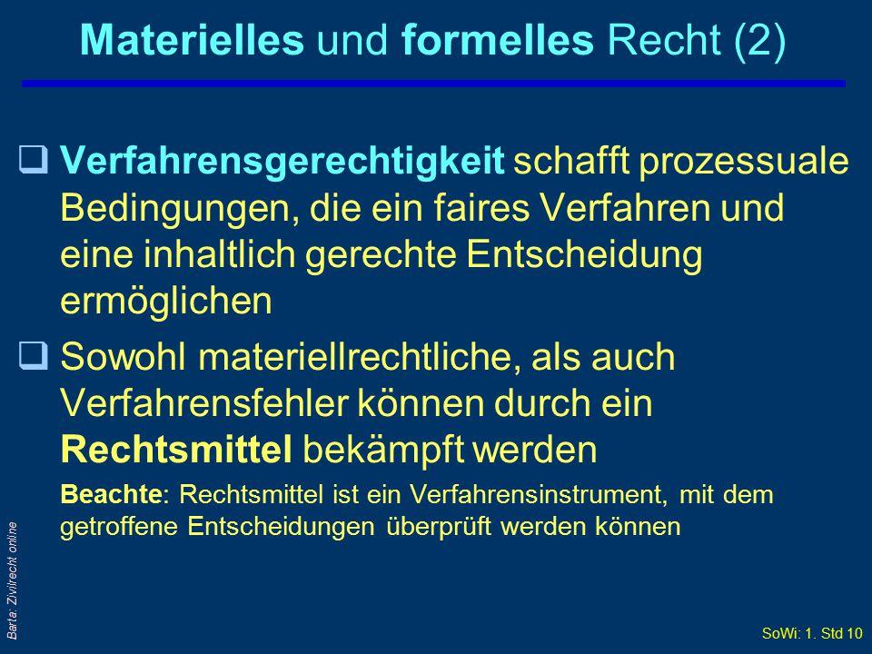 SoWi: 1. Std 9 Barta: Zivilrecht online Materielles und formelles Recht (1) qMaterielles R. = inhaltlich regelndes Recht → Besitz, ET, EheR, SachenR,