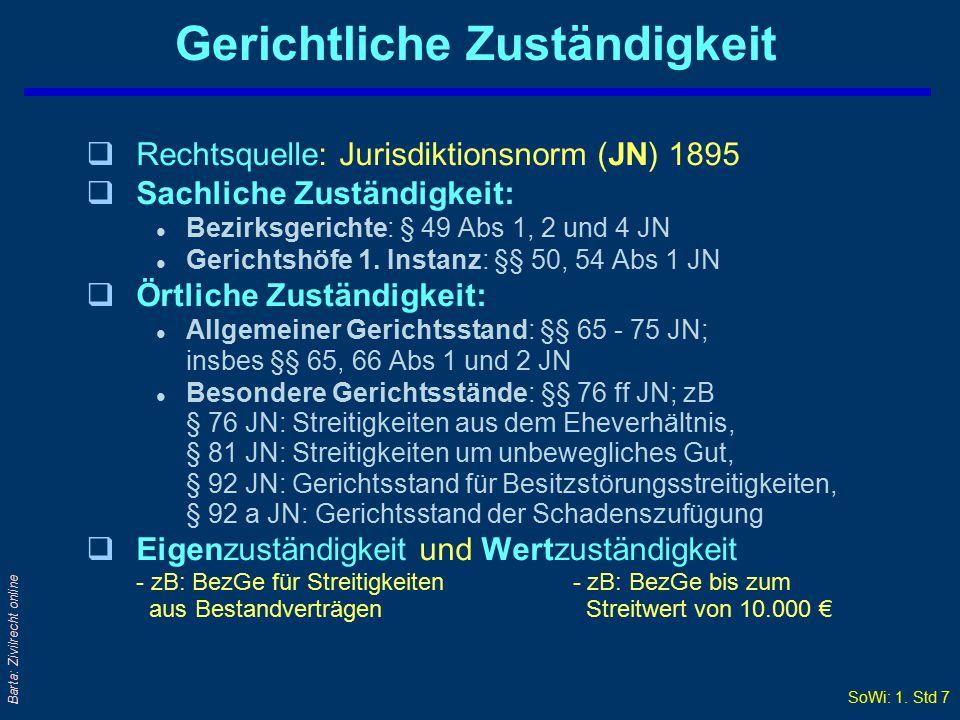 SoWi: 1. Std 6 Barta: Zivilrecht online Rechtsdurchsetzung qMaterielles Recht ↔ VerfahrensR/formelles R qVerfahrensR = immer öffentliches Recht qGewal