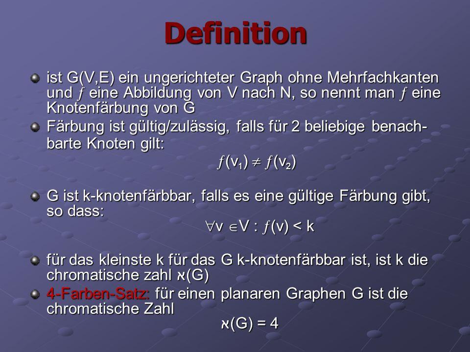 Definition ist G(V,E) ein ungerichteter Graph ohne Mehrfachkanten und  eine Abbildung von V nach N, so nennt man  eine Knotenfärbung von G Färbung i
