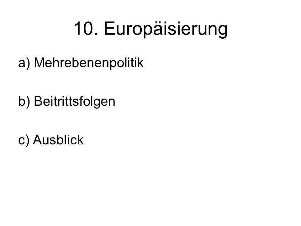 10. Europäisierung a) Mehrebenenpolitik b) Beitrittsfolgen c) Ausblick