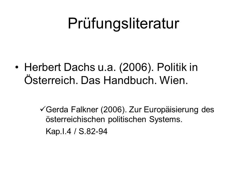 Prüfungsliteratur Herbert Dachs u.a. (2006). Politik in Österreich.