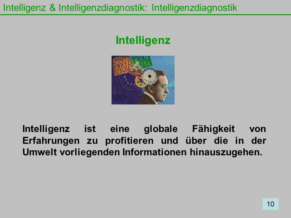 Intelligenz & Intelligenzdiagnostik: Intelligenzdiagnostik Intelligenz Intelligenz ist eine globale Fähigkeit von Erfahrungen zu profitieren und über