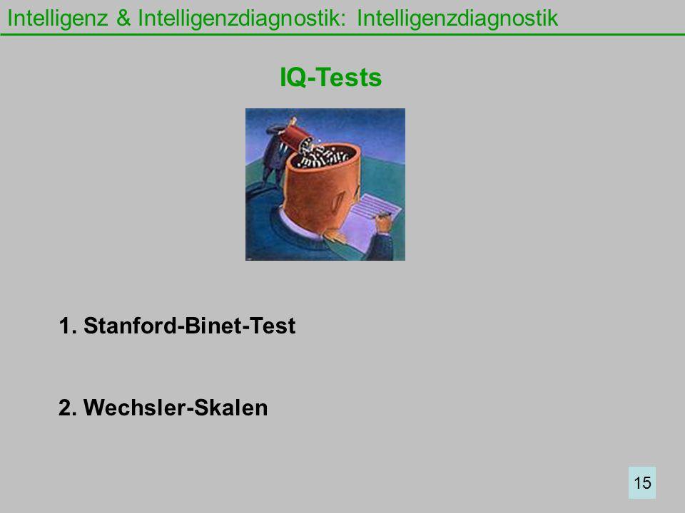 Intelligenz & Intelligenzdiagnostik: Intelligenzdiagnostik IQ-Tests 1. Stanford-Binet-Test 2. Wechsler-Skalen 15