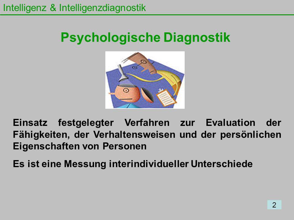 Intelligenz & Intelligenzdiagnostik Einsatz festgelegter Verfahren zur Evaluation der Fähigkeiten, der Verhaltensweisen und der persönlichen Eigenscha