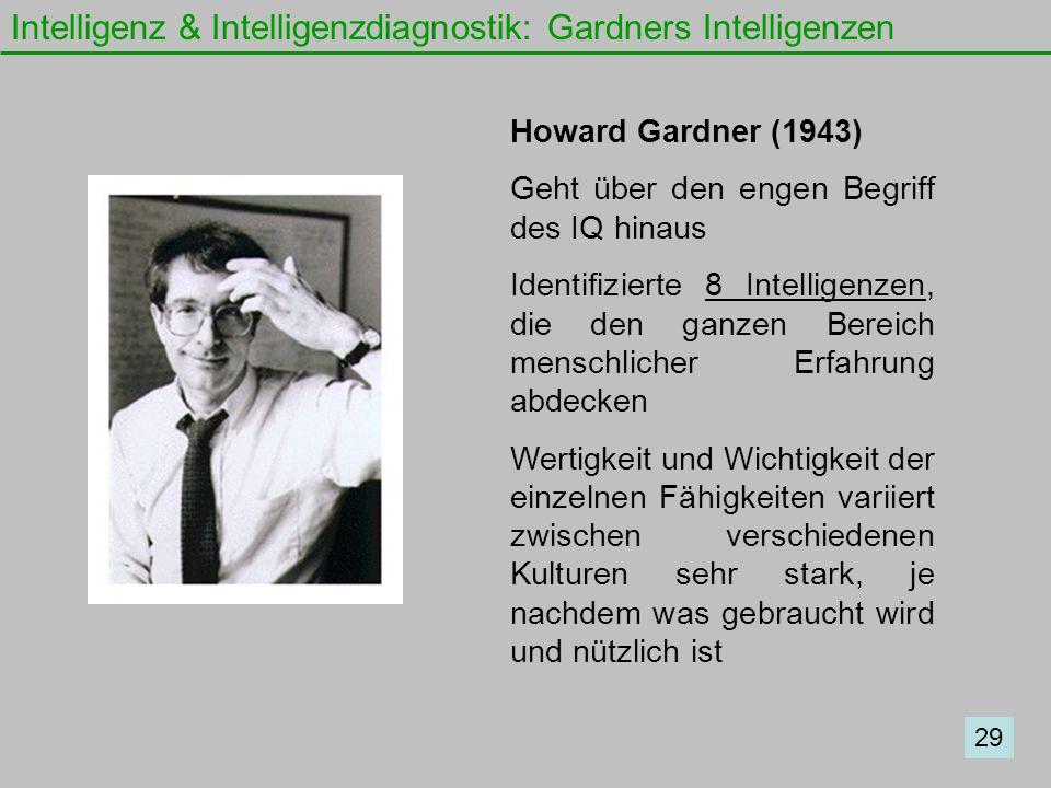 Intelligenz & Intelligenzdiagnostik: Gardners Intelligenzen Howard Gardner (1943) Geht über den engen Begriff des IQ hinaus Identifizierte 8 Intellige