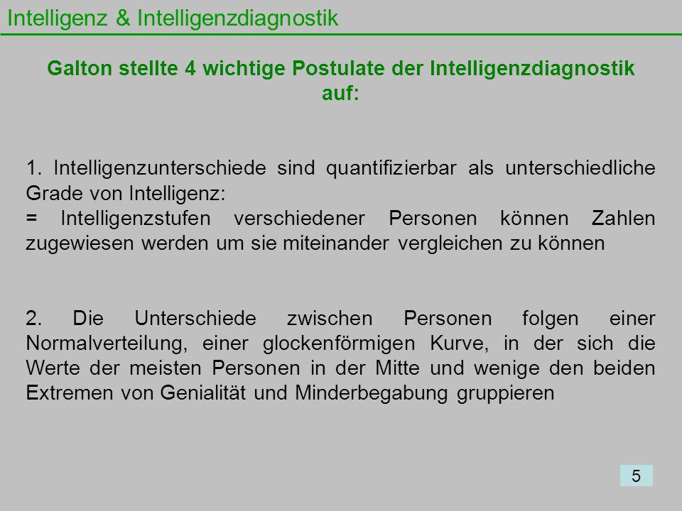 Intelligenz & Intelligenzdiagnostik 5 Galton stellte 4 wichtige Postulate der Intelligenzdiagnostik auf: 1. Intelligenzunterschiede sind quantifizierb
