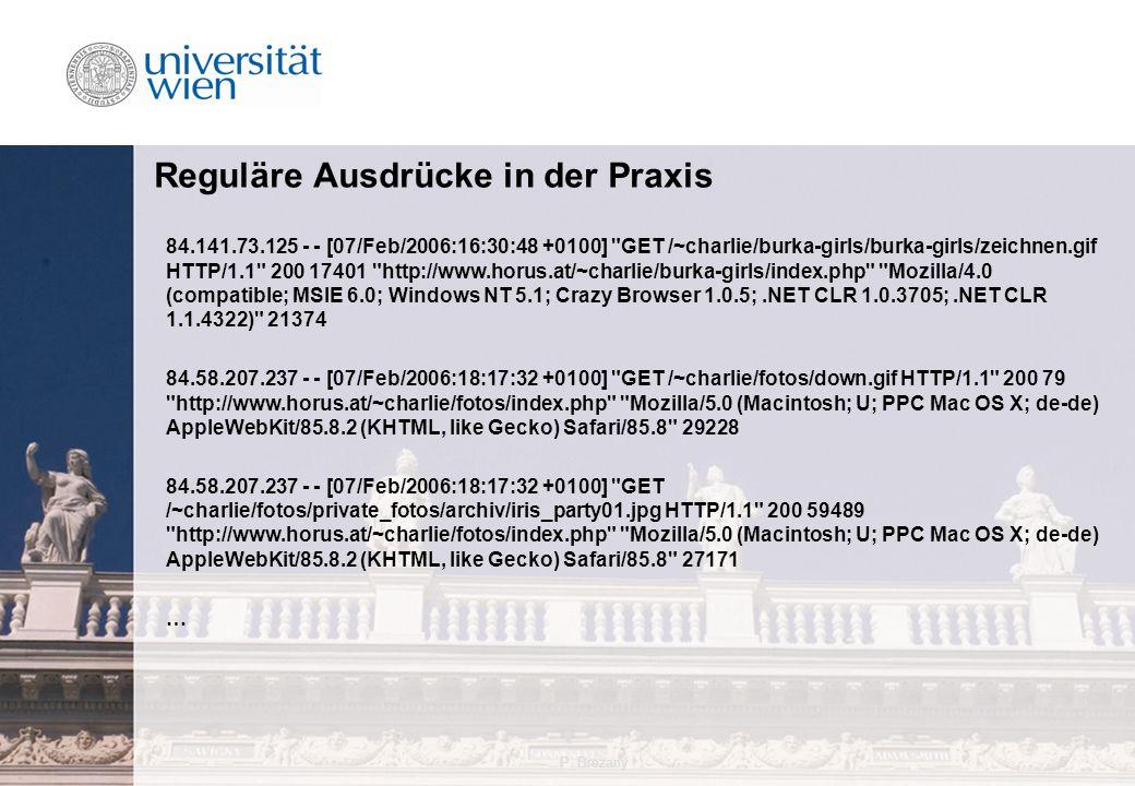 P. Brezany5 Reguläre Ausdrücke in der Praxis 84.141.73.125 - - [07/Feb/2006:16:30:48 +0100]