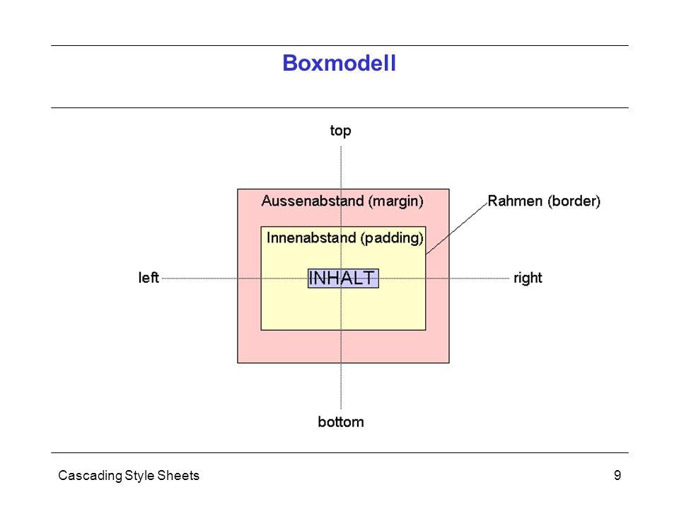 Cascading Style Sheets10 Browser setzen CSS unterschiedlich um: Netscape 4.x und IE4.x: nur teilweise Ab Netscape 6.x, IE 5.x und Opera 5.x: fast vollständig Moderne Browser setzen also Standard weitestgehend um  man sollte CSS verwenden Zusammenfassung