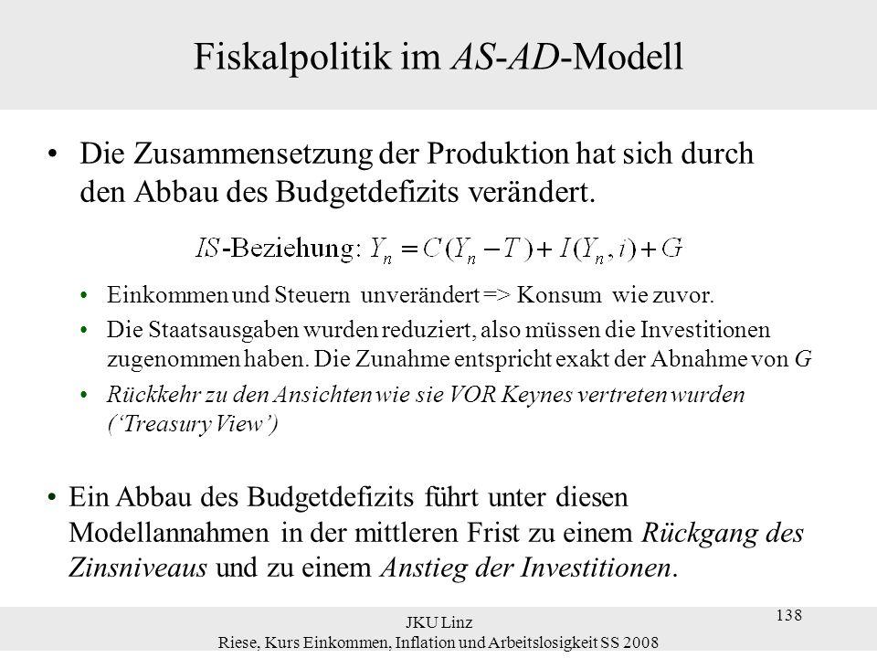 JKU Linz Riese, Kurs Einkommen, Inflation und Arbeitslosigkeit SS 2008 138 Fiskalpolitik im AS-AD-Modell Die Zusammensetzung der Produktion hat sich d