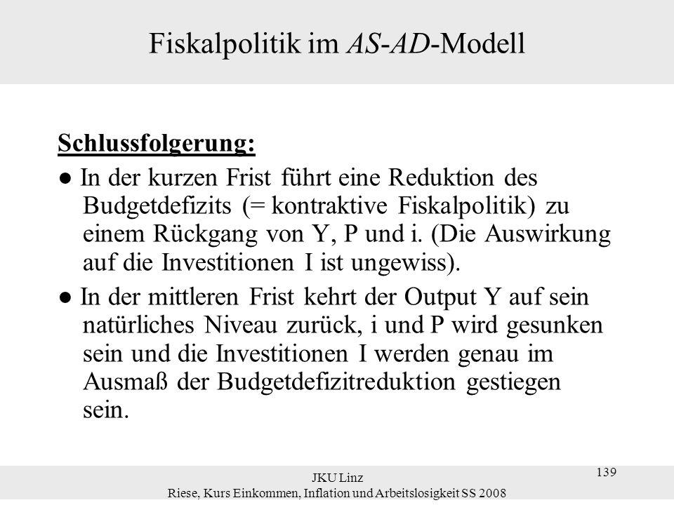 JKU Linz Riese, Kurs Einkommen, Inflation und Arbeitslosigkeit SS 2008 139 Fiskalpolitik im AS-AD-Modell Schlussfolgerung: ● In der kurzen Frist führt