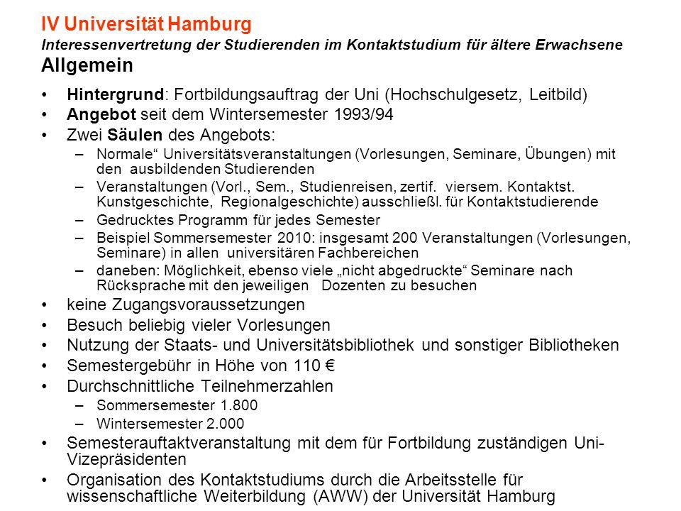 IV Universität Hamburg Interessenvertretung der Studierenden im Kontaktstudium für ältere Erwachsene Allgemein Hintergrund: Fortbildungsauftrag der Un