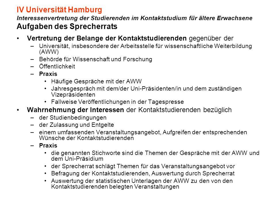 IV Universität Hamburg Interessenvertretung der Studierenden im Kontaktstudium für ältere Erwachsene Aufgaben des Sprecherrats Vertretung der Belange