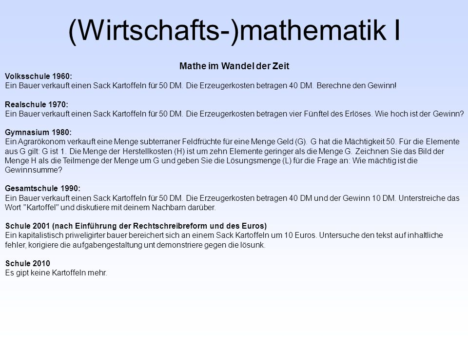 Analysis, Lineare Algebra und Finanzmathematik 1.