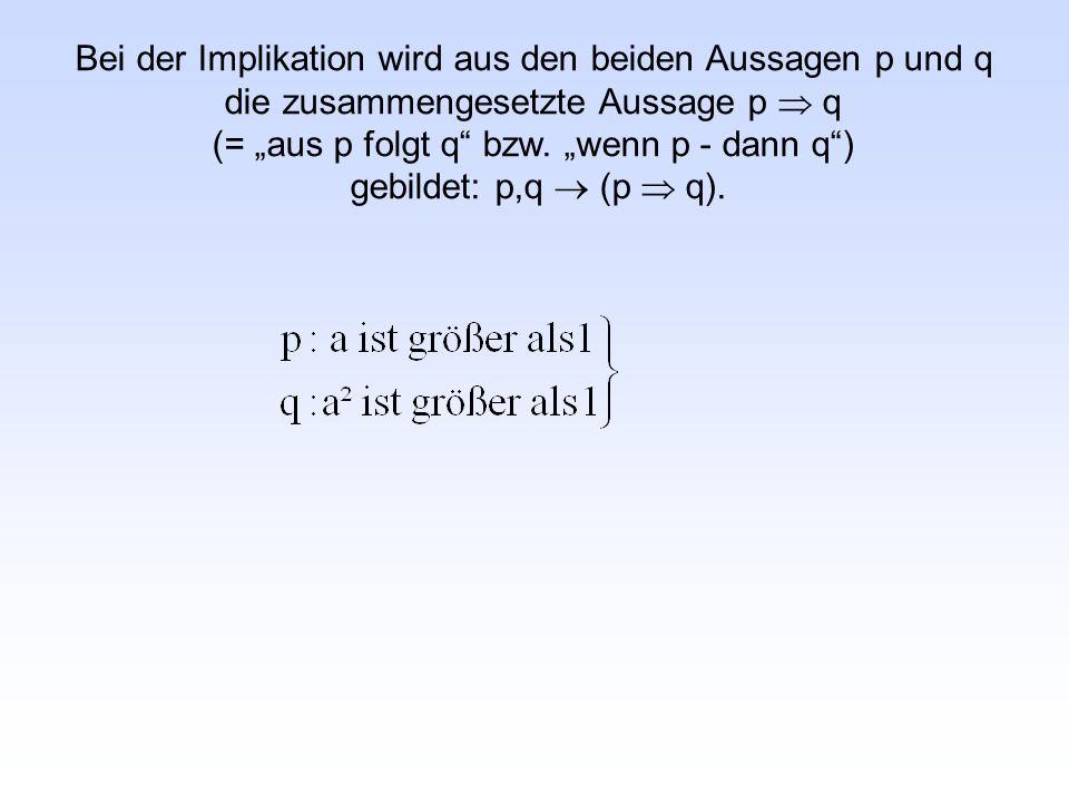 """Bei der Implikation wird aus den beiden Aussagen p und q die zusammengesetzte Aussage p  q (= """"aus p folgt q bzw."""