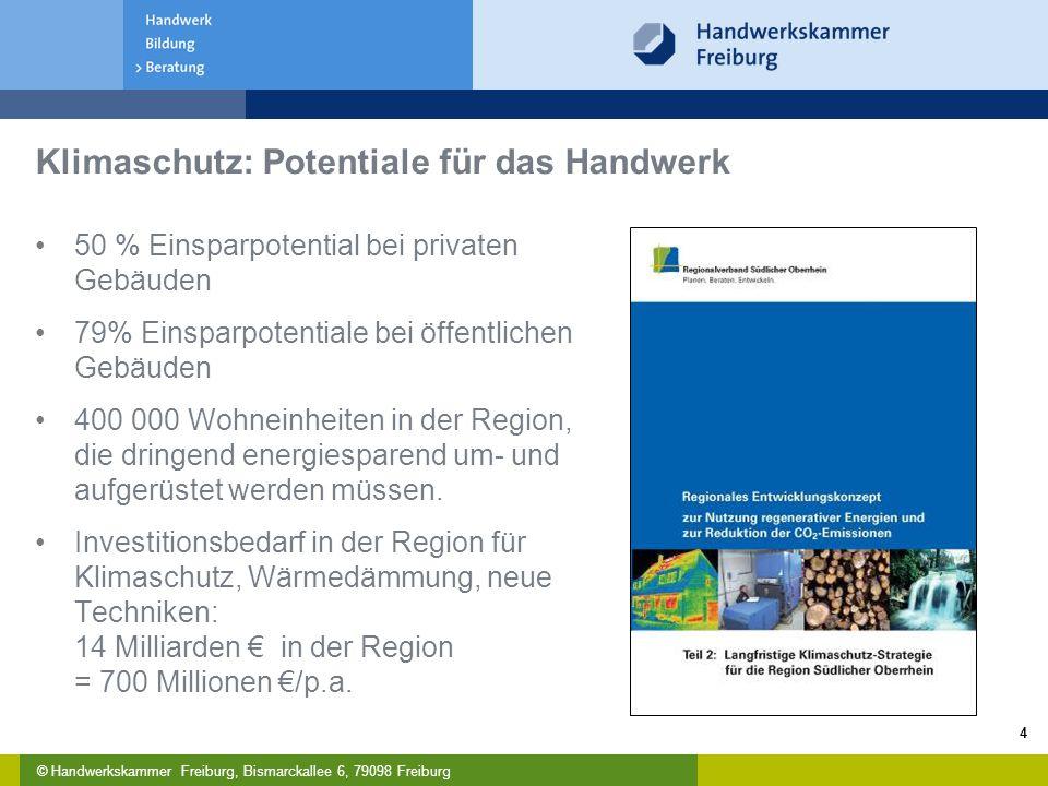 © Handwerkskammer Freiburg, Bismarckallee 6, 79098 Freiburg 4 Klimaschutz: Potentiale für das Handwerk 50 % Einsparpotential bei privaten Gebäuden 79% Einsparpotentiale bei öffentlichen Gebäuden 400 000 Wohneinheiten in der Region, die dringend energiesparend um- und aufgerüstet werden müssen.