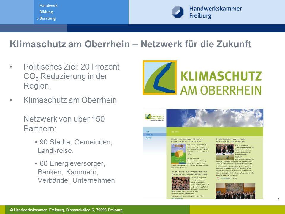 © Handwerkskammer Freiburg, Bismarckallee 6, 79098 Freiburg 7 Klimaschutz am Oberrhein – Netzwerk für die Zukunft Politisches Ziel: 20 Prozent CO 2 Reduzierung in der Region.