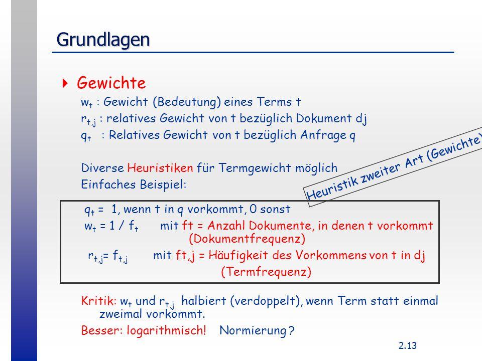 2.13 Grundlagen  Gewichte w t : Gewicht (Bedeutung) eines Terms t r t,j : relatives Gewicht von t bezüglich Dokument dj q t : Relatives Gewicht von t