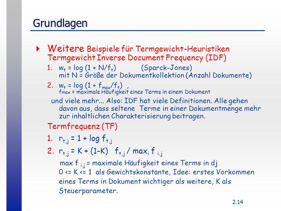 2.14 Grundlagen  Weitere Beispiele für Termgewicht-Heuristiken Termgewicht Inverse Document Frequency (IDF) 1.w t = log (1 + N/f t ) (Sparck-Jones) m