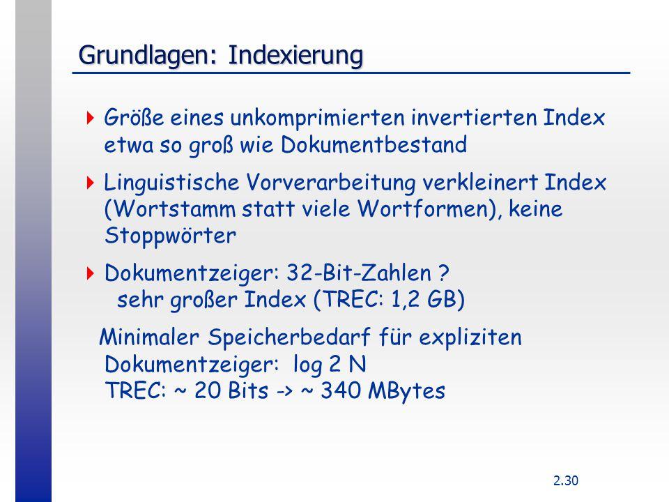 2.30 Grundlagen: Indexierung  Größe eines unkomprimierten invertierten Index etwa so groß wie Dokumentbestand  Linguistische Vorverarbeitung verklei