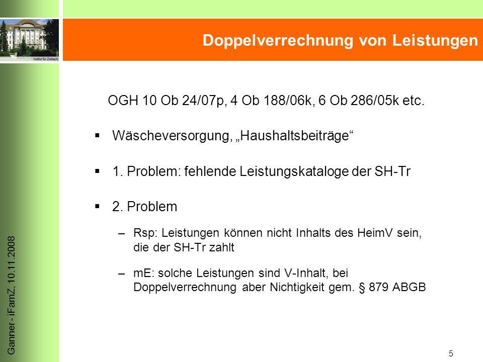 5 Ganner - iFamZ, 10.11.2008 Doppelverrechnung von Leistungen OGH 10 Ob 24/07p, 4 Ob 188/06k, 6 Ob 286/05k etc.