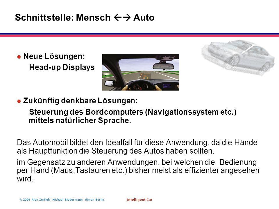 © 2004 Alen Zurfluh, Michael Biedermann, Simon Börlin Intelligent Car l Neue Lösungen: Head-up Displays l Zukünftig denkbare Lösungen: Steuerung des B