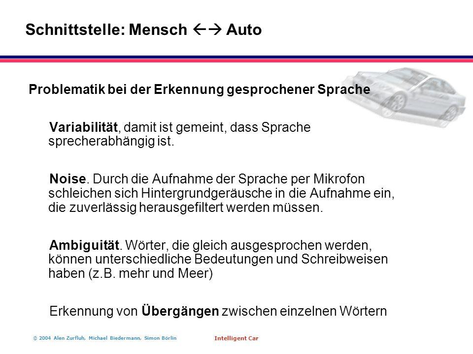 © 2004 Alen Zurfluh, Michael Biedermann, Simon Börlin Intelligent Car Problematik bei der Erkennung gesprochener Sprache Variabilität, damit ist gemeint, dass Sprache sprecherabhängig ist.