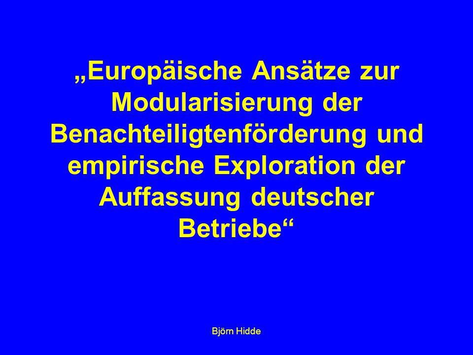 """Björn Hidde """"Europäische Ansätze zur Modularisierung der Benachteiligtenförderung und empirische Exploration der Auffassung deutscher Betriebe"""